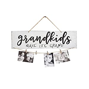 Garneck Note Clips, Wooden Hanging Grandkids Make Life Grand Wall Board DIY Listing Note Clips Crafts Small Board Photo Clips Recording Message Clips Memo Folders Note Clamps