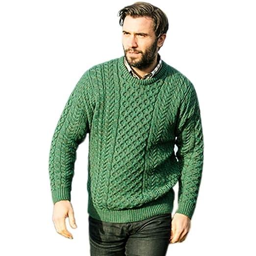 Mens Aran Sweater Made In Ireland 100 Real Irish Wool Green At