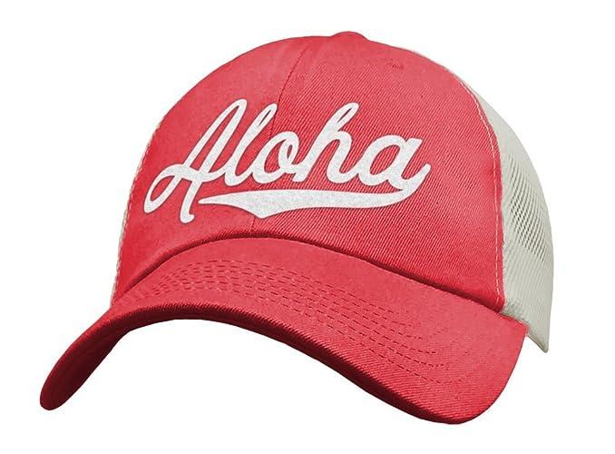 Amazon.com  Aloha Trucker Hat For Women - Hawaii Vacation Hat - Hawaiian  Islands Apparel  Handmade e3eb3c20e02
