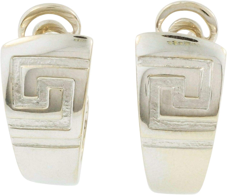 Versace - Pendientes de aro de oro blanco de 18 quilates con llave griega, 30 mm de longitud