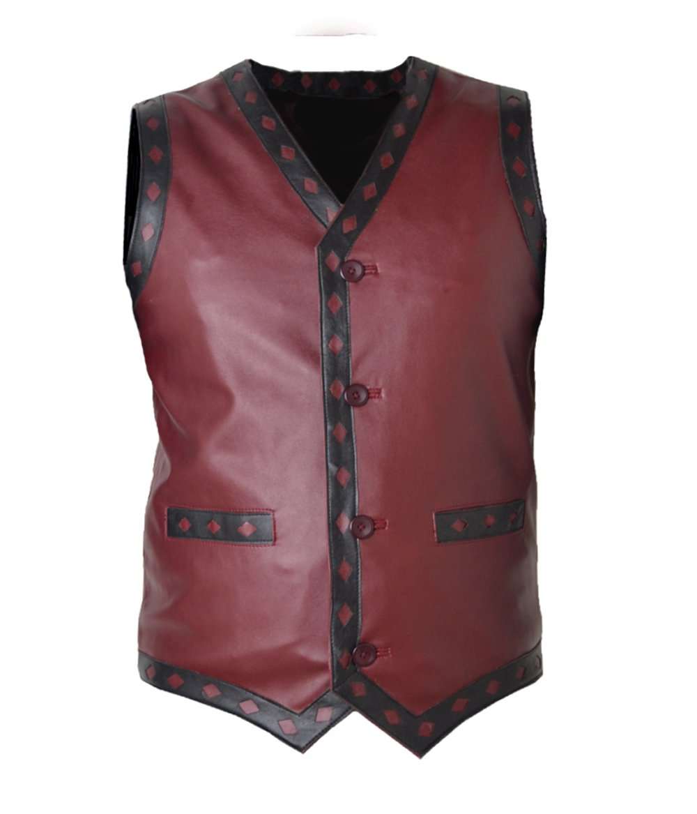 MSHC Men's Warrior Ajax Michael Faux Leather Vest Medium Burgundy by MSHC