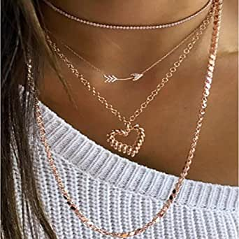 YERTTER Multi Layer Gold Color Arrow and Heart Pendant Necklaces for Women Layered Choker Boho Charms Necklaces Jewelry