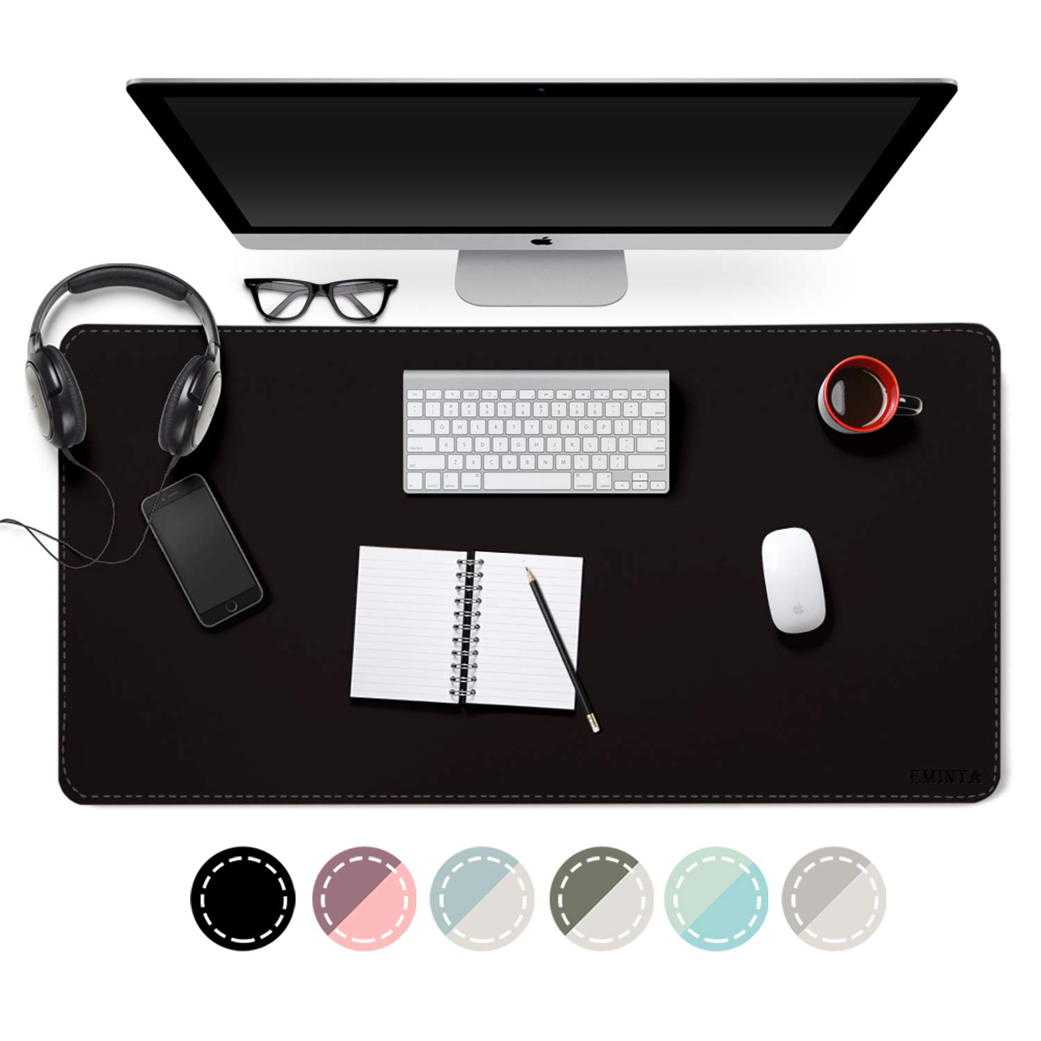 "EMINTA Dual Sided Desk Pad, 2019 Upgrade Sewing PU Leather Office Desk Mat, Waterproof Desk Blotter Protector, Desk Writing Mat Mouse Pad (Classical Black, 31.5"" x 15.7"")"