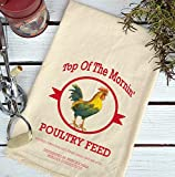 vintage print fabric - Farmhouse Natural Flour Sack Top 0 the Morning Poultry Feed Country Kitchen Towel