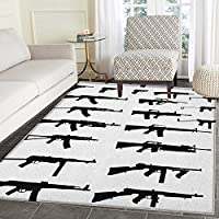 Military Rugs for Bedroom Silhouette of Various Size Guns Weapons Pistols Revolvers War Army Power Concept Circle Rugs for Living Room 3x5 Black White