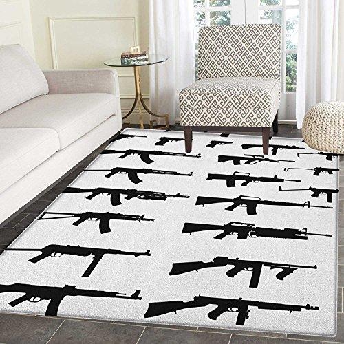 pet Silhouette of Various Size Guns Weapons Pistols Revolvers War Army Power Concept Home Decor Foor Carpe 2'x3' Black White ()