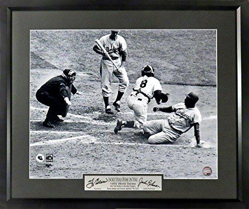 "Robinson Plates (NY Yankees/Brooklyn Dodgers ""Jackie Robinson Steals Home On Yogi Berra"" 16x20 Photograph (SGA Signature Engraved Plate Series))"