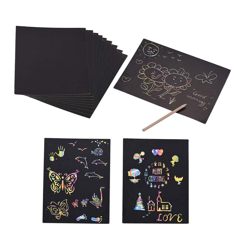 Aibecy Magic Rainbow Scratch Art Paper con Stylus de madera Tablero de pintura DIY Mini notas Regalo perfecto o Actividad de viaje Juguete para ni/ños Estudiantes Chicas o cualquier persona