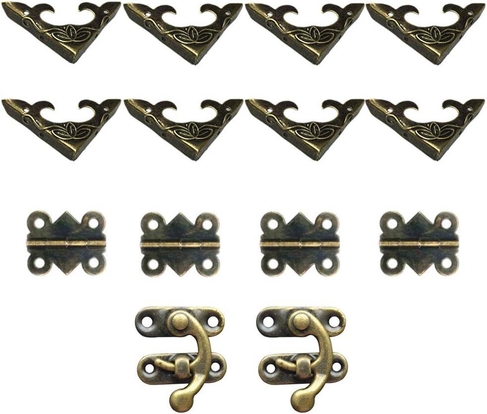 4 piezas con forma de mariposa y 8 piezas de protectores de esquina Juego de 2 piezas de bisagras decorativas para armarios con dise/ño retro DELSEN