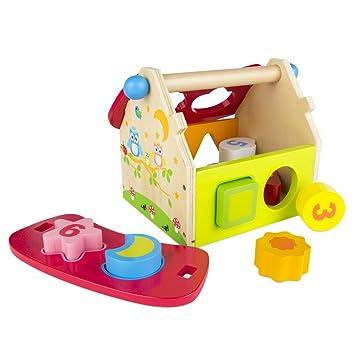 ColorBaby - Casita con formas, de madera, 11 piezas (42750): Amazon.es: Juguetes y juegos
