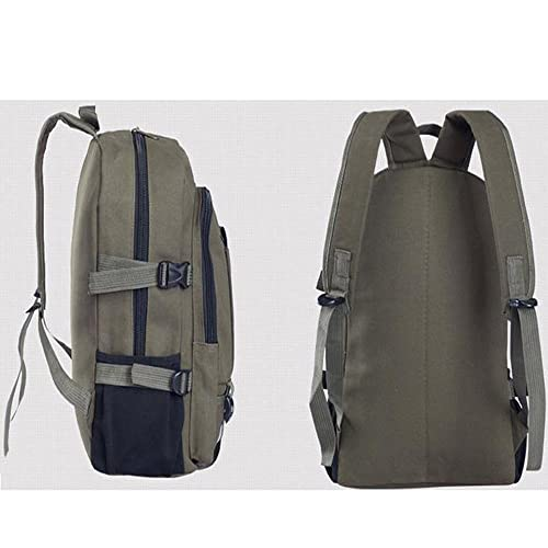 3b6db7f33cb2 TianranRT Vintage Travel Canvas Leather Backpack Sport Rucksack Satchel  School Hiking Bag (Army Green)  Amazon.co.uk  Shoes   Bags