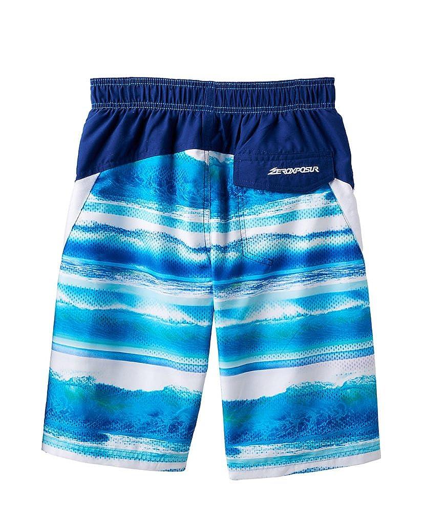 ZeroXposur Big Boys Tropical Swim Trunks Deep Aqua