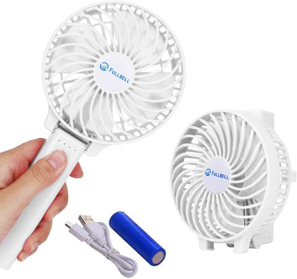 Fullbell Mini Ventiladore de Mano, Ventilador Portátil USB con Batería Recargable, Ventiladores Plegables con 3 Velocidades para Oficina/Hogar/Viajes/Exterior (Blanco)