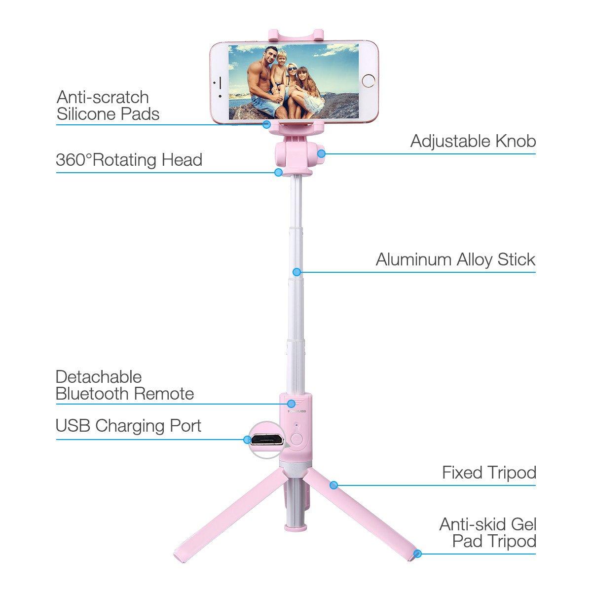 Selfie Stick Tripod,Poweradd Extendable/Foldable Aluminum Selfie Stick with Detachable/Wireless Remote for iPhone X/SE/6/6s/6 Plus/7/7 Plus/8/8 Plus/,Samsung 8/S8/S8 Plus,Nexus,LG,Moto and More-Pink by POWERADD (Image #2)
