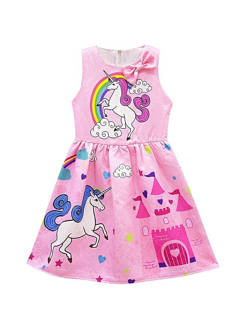 KYMIDY Summer Autumn Girls Sleeveless Unicorn Dress Toddler Long Sleeve Rainbow Bow Casual Dress 2-10T