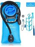 Bergcamp Trinkblase & Reinigungsset - wasserdichte Blase ideal für den Rucksack zum Wandern, Campen oder Radfahren, geschmacklos und BPA-frei, große Öffnung, Trinksystem Outdoor