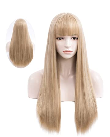 ANOGOL Wig Cap+Blonde Wigs Long Curly Bang Cosplay Wig Blonde Synthetic Hair Wigs for Women Girls