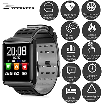 Amazon.com: ZEERKEER Waterproof Smart Bracelet with Blood ...