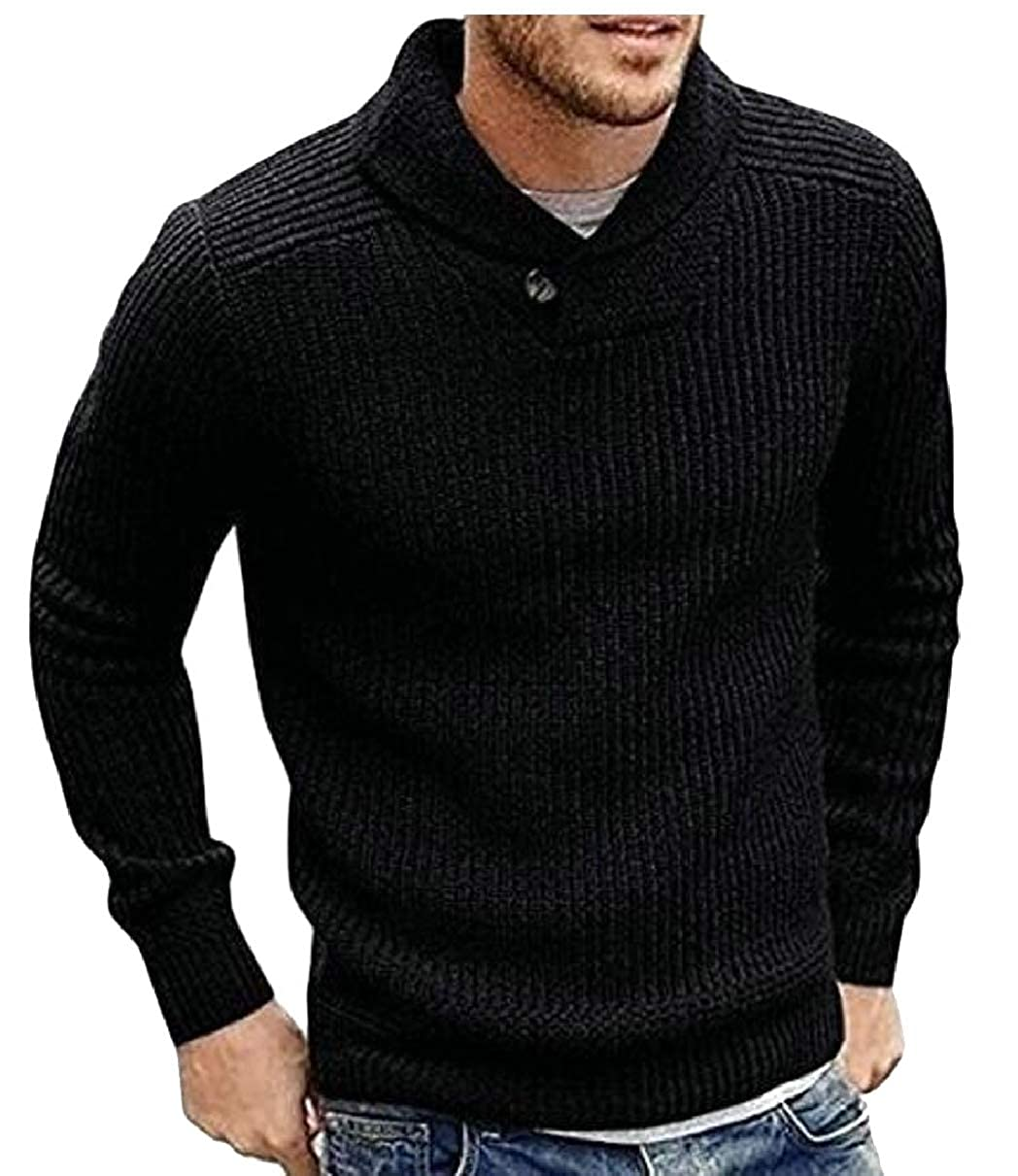 ZXFHZS Mens Long Sleeve Lightweight Pullover Cowl Neck Ribbed Sweater