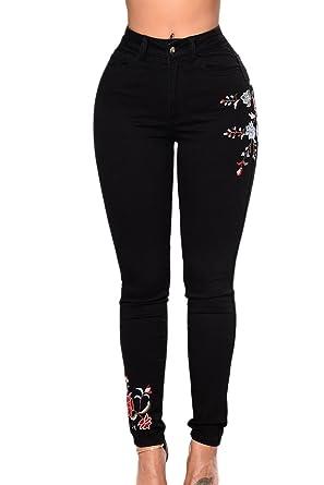 YACUN Les Jeans Skinny Pantalon Taille Haute, Jean Brodé  Amazon.fr ... d3c88b50676b