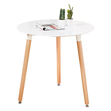 GreenForest Dining Table Modern Round Table White Coffee Table For Kitchen  Dining Room Leisure Table With
