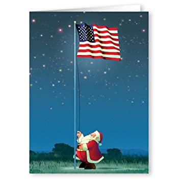 Patriotic Christmas.Patriotic Christmas Card 18 Cards Envelopes American Flag