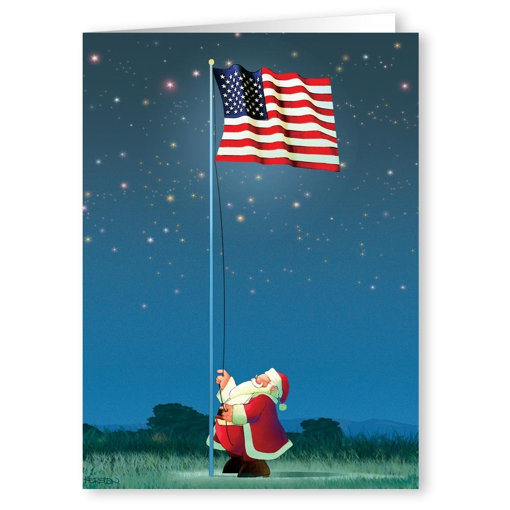 Amazon.com: Patriotic Snowman and Flag Christmas Card 18 Cards / 19 ...
