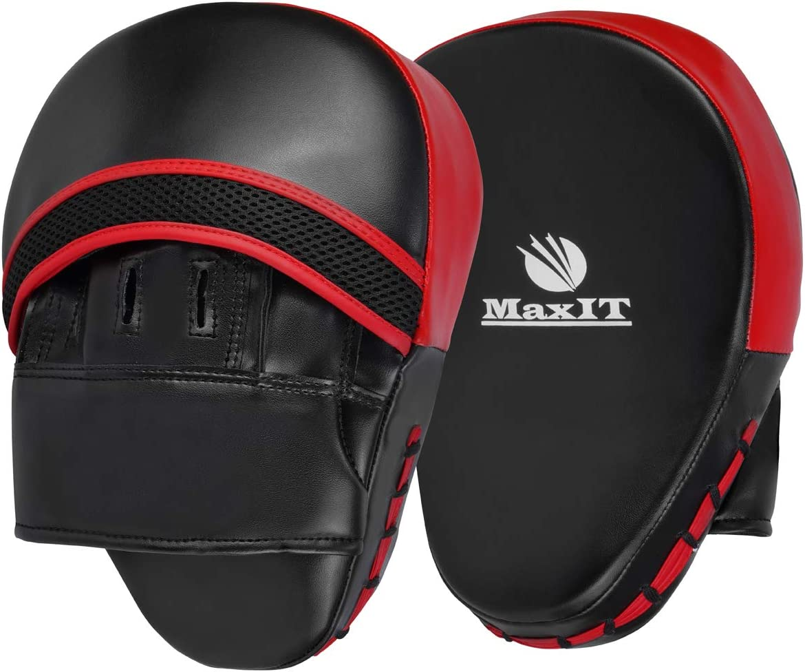 MaxIT Curved Punch Mitts | Professional PU Leather Comfortable Punching Pads for MMA, Boxing, Kickboxing, Muay Thai, Karate & Other Combat Sports Training