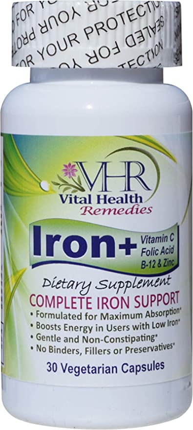 VHR Iron+ with Vitamin C, FOLIC Acid, B-12 & ZINC Preservative-Free, Gentle and Non-constipating, Boosts Energy, Supports Red Blood Cell Formation, Formulated for Maximum Absorption. 30 Veggie caps