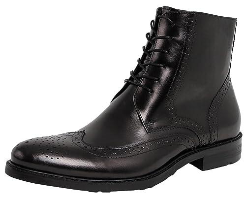 SERDAOUMANI botas de hombre Mocasines de cuero bovino Cusual y trabajar Tipo generoso Negro 44: Amazon.es: Zapatos y complementos
