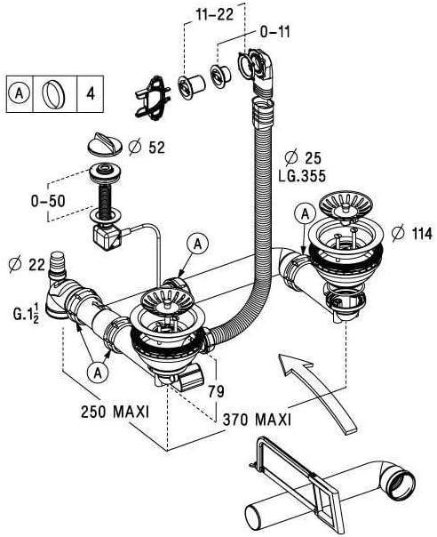 Nicoll Vidage Complet Automatique et Manuel chrom/é pour /évier 2 cuves 0224045