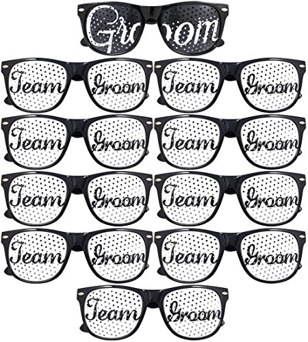 Team Groom Party Glasses - Novelty Sunglasses For Weddings and Bachelor Parties - Fun Photo Props (10pc Set, Black)