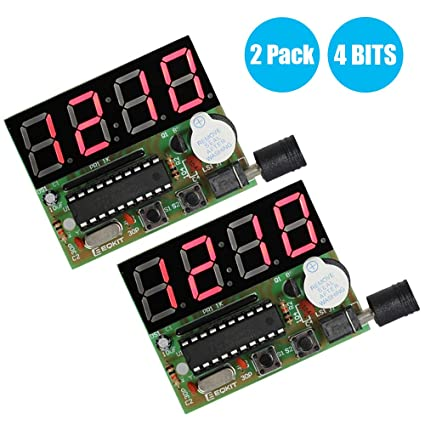 WHDTS 2 Pack, 4 Bits Digital Clock Kits with PCB for Soldering Practice  Learning Electronics with English Instructions