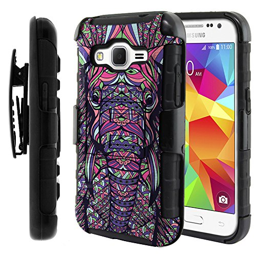 FINCIBO Case Compatible with Samsung Galaxy Core Prime G360, Dual Layer Hybrid Curve Rigid Armor Protector Cover Kickstand TPU with Holster For Galaxy Core Prime G360 Prevail LTE - Elephant Head Aztec
