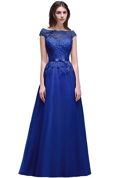 Babyonlinedress Largo vestido A line y elegante de chiffón vestido de fiesta para bodas con aplicaciones