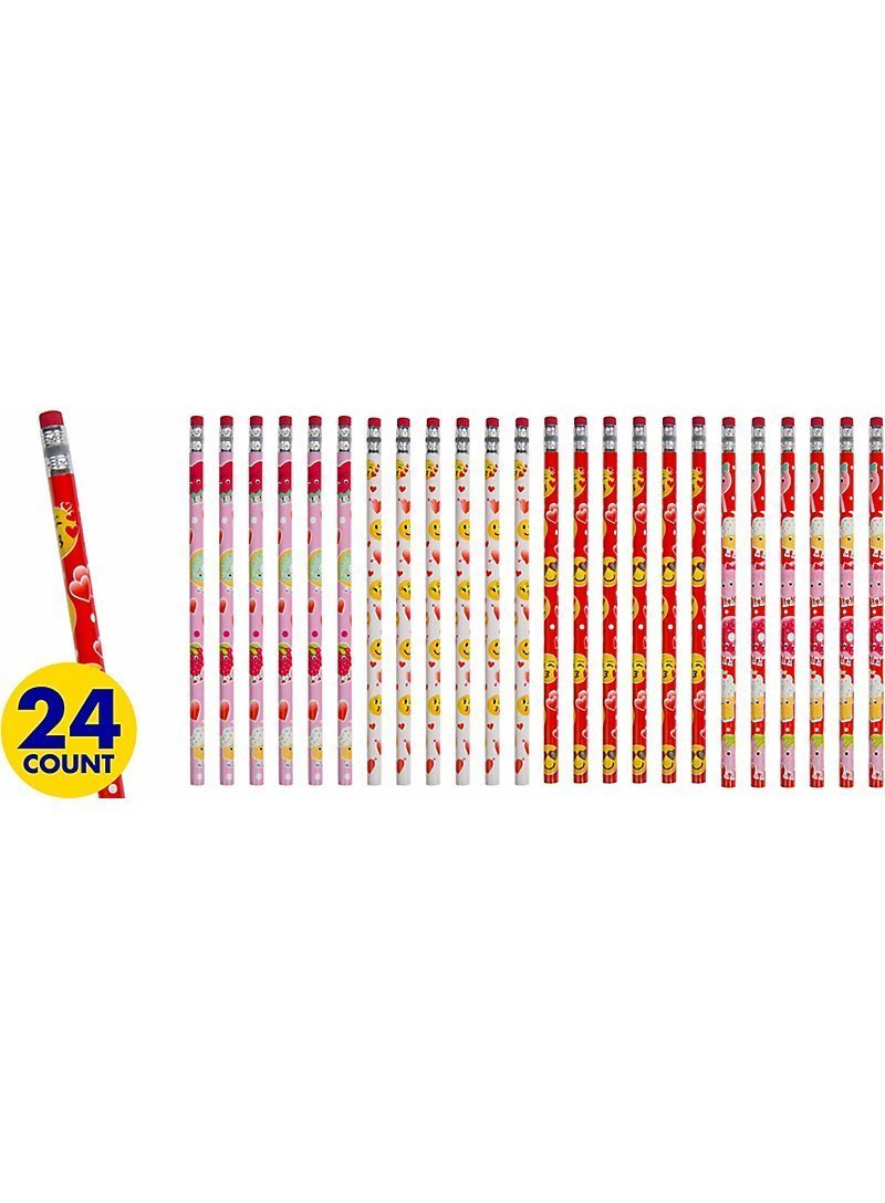Valentines Emoticon Coloring Pages and Pencils, set of 48 pieces Party Favors by Custom Variety (Image #7)