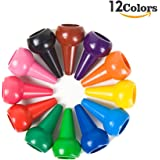 BESTRY-US Finger Crayons for kids, Non-Toxic Toddler Crayons Washable Palm-Grip Crayons 12 Colors Paint Crayons Sticks Stackable Toys for Kids, Toddlers, Boys and Girls