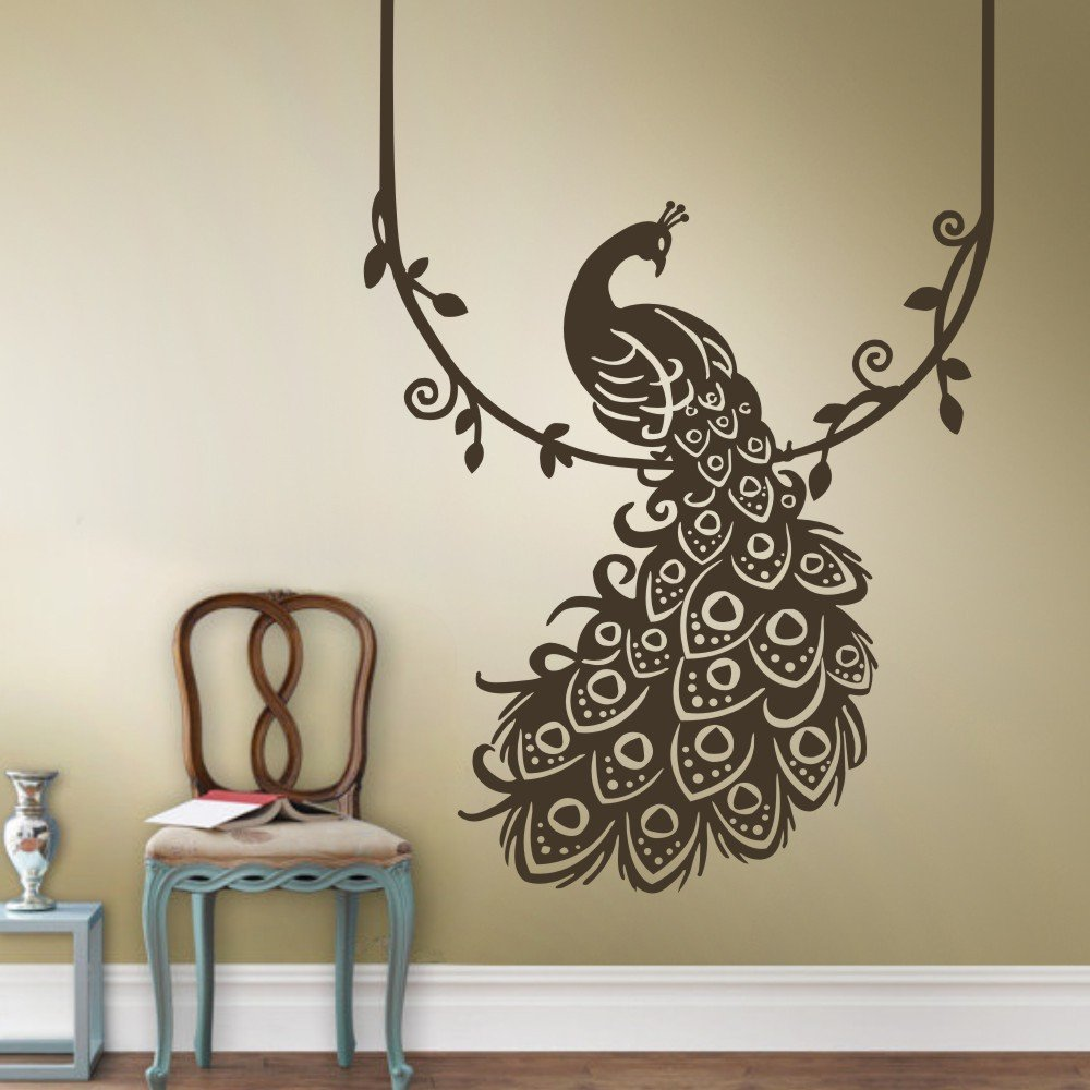 Home Decor Peacock Feather Silhouette Dark Brown Vinyl Decal Sticker For Wall Drawing Room Bed Room Waiting Room Buy 2 Get 2 Absolutely Free Amazon In Home Kitchen