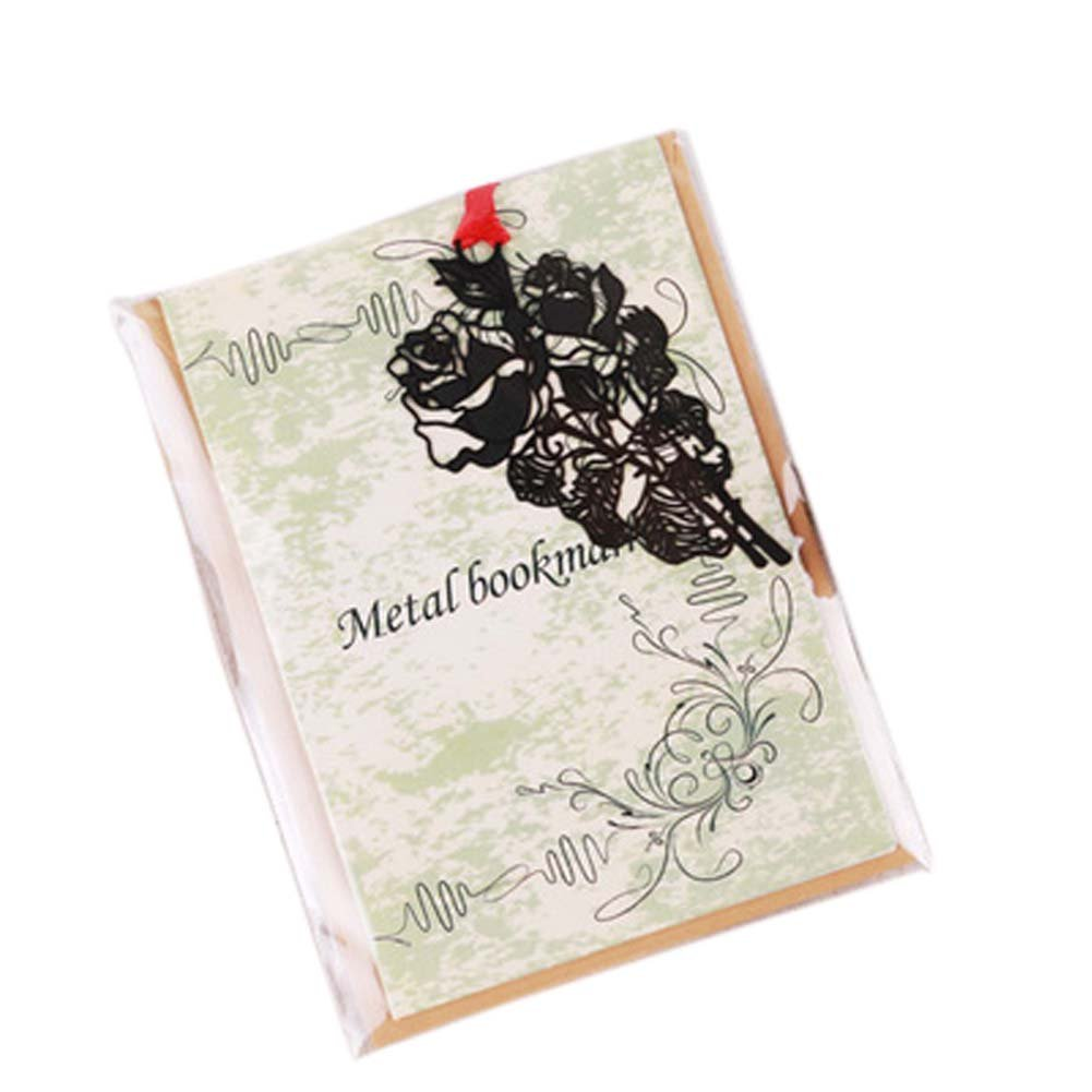 3 Pcs Hollowed-out Black Metal Bookmark Classical Chinese Style Retro Bookmarks Gift, Rose