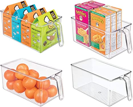 Amazon Com Mdesign Plastic Kitchen Pantry Cabinet Refrigerator Storage Organizer Bin Holder With Front Handle For Organizing Individual Packets Snacks Produce Pasta Bpa Free Medium 4 Pack Clear Kitchen Dining
