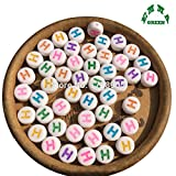 EmmaGreen Accessories Diy 200pcs 4x7mm Colorful Alphabet Letter Acrylic Spacer Beads Single Letter H Beads For Jewelry Making