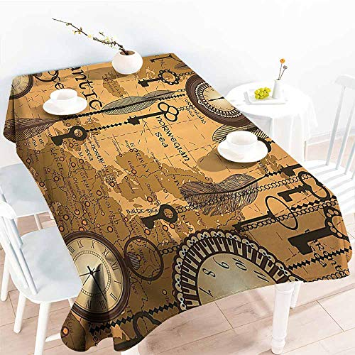 (HRoomDecor Fabric Tablecloth,Antique Decor Collection,Antique Background with Map Clocks and Feathers Time Classics Country Style,Peru Sienna Brown 54