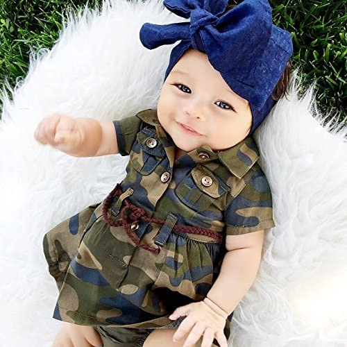6179Bh%2BM%2BkL. AC - IWOKA Baby Girl Camouflage Long Sleeve Bandage Skirts+Green Short Pants Outfit Casual Clothes