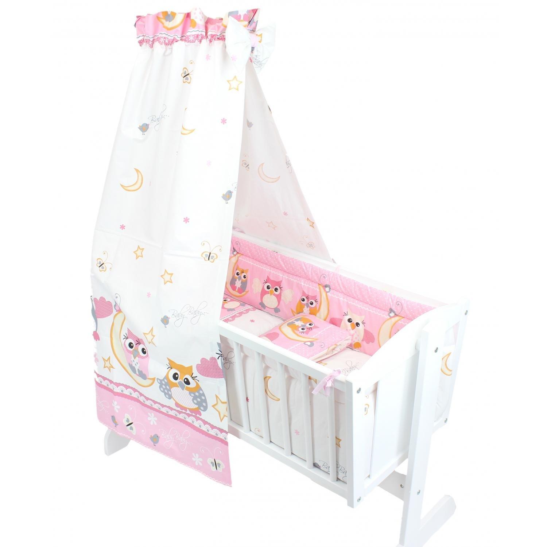 6 pcs Set White TupTam Baby Cradle Bedding Set with Bumper and Canopy 6 pcs