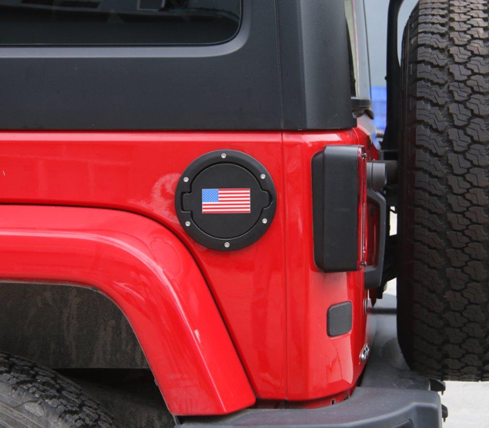 Without Logo BORUIEN Matt Black Gas Tank Cap Cover Fuel Filler Door for 2007-2016 Jeep Wrangler JK 2//4 Door