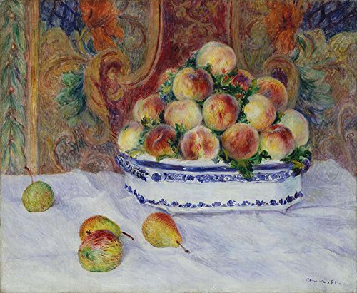 (JH Lacrocon Pierre-Auguste Renoir - Still Life with Peaches Canvas Wall Art Rolled 50X40 cm (Approx. 20X16 inch) - Still Life Fruits Paintings Reproductions Prints)