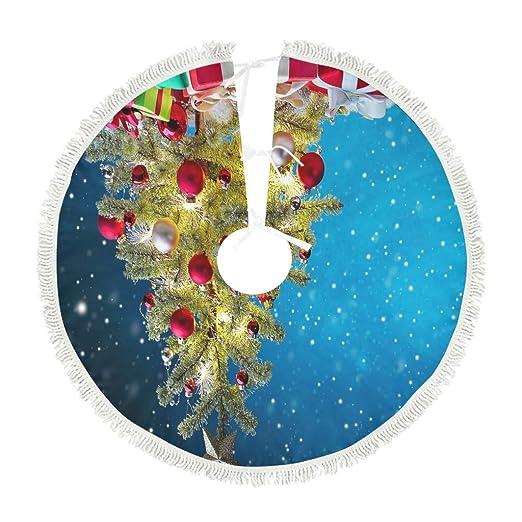 kikomia Navidad árbol Golden Regalo decoración Azul Cielo Nieve ...
