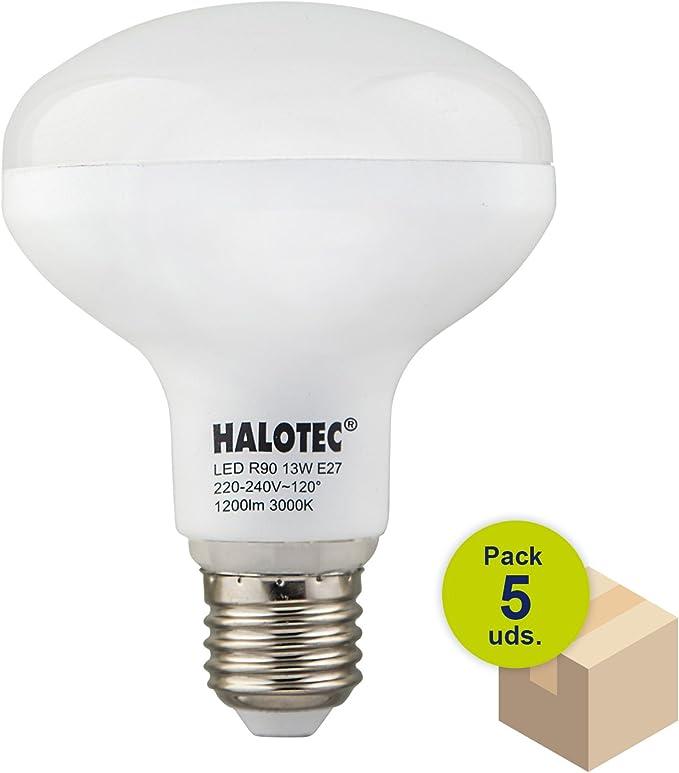 HALOTEC Pack de 5 Bombillas Reflectora LED R90 E27 13W 230V 3000K blanco cálido mate: Amazon.es: Iluminación