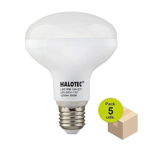 HALOTEC Pack de 5 Bombillas Reflectora LED R90 E27 13W 230V 3000K blanco cálido mate