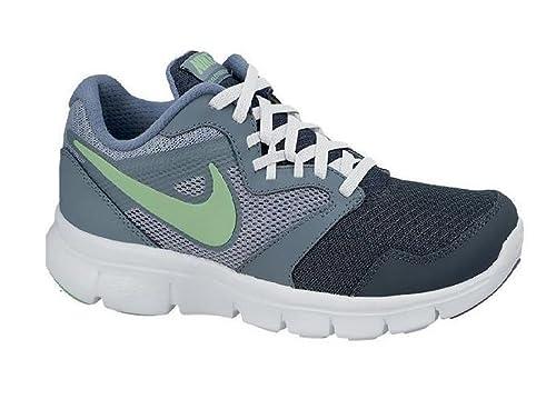 efdb1e8c6f91 Nike Kids Flex Experience Junior Running Shoes Charcoal Green UK 5.5 (38.5)